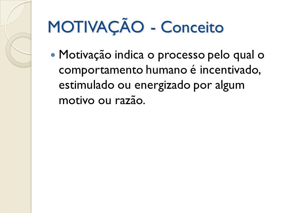 MOTIVAÇÃO - Conceito Motivação indica o processo pelo qual o comportamento humano é incentivado, estimulado ou energizado por algum motivo ou razão.