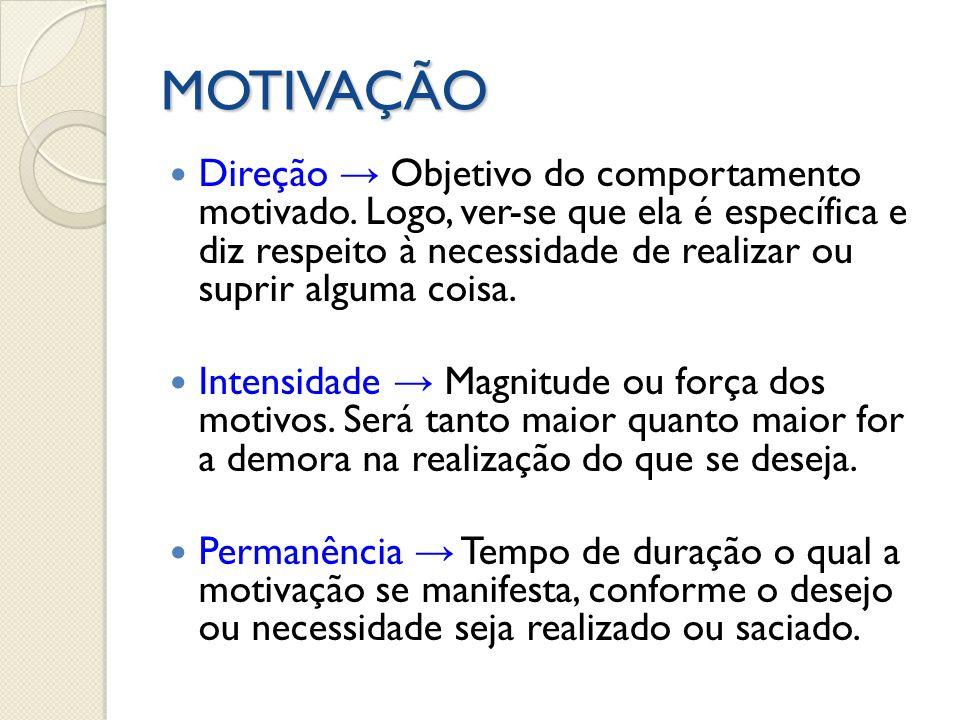 MOTIVAÇÃO Direção Objetivo do comportamento motivado. Logo, ver-se que ela é específica e diz respeito à necessidade de realizar ou suprir alguma cois