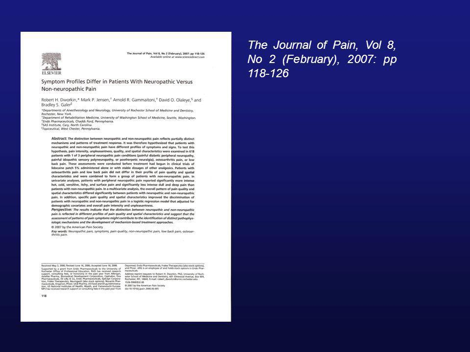 The Journal of Pain, Vol 8, No 2 (February), 2007: pp 118-126