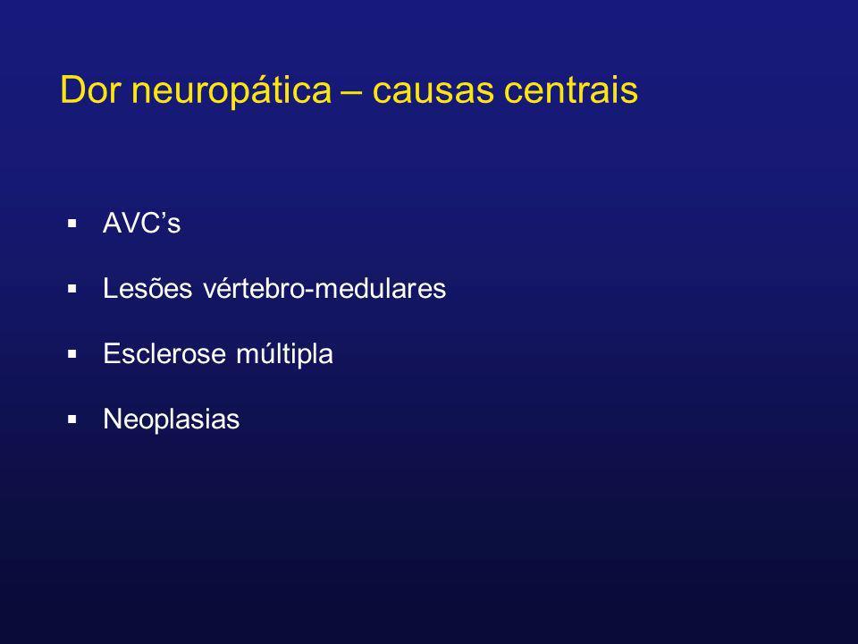 AVCs Lesões vértebro-medulares Esclerose múltipla Neoplasias Dor neuropática – causas centrais