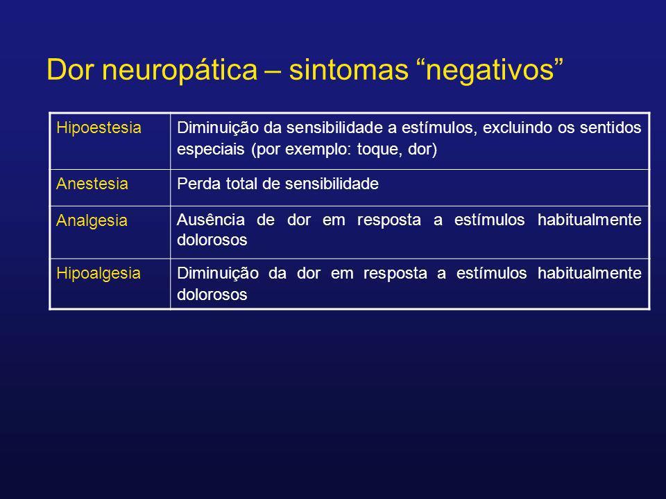 Hipoestesia Diminuição da sensibilidade a estímulos, excluindo os sentidos especiais (por exemplo: toque, dor) AnestesiaPerda total de sensibilidade A