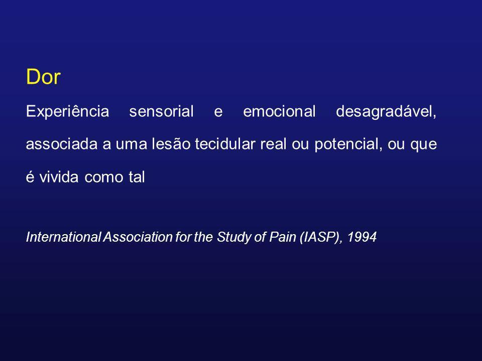 Dor Experiência sensorial e emocional desagradável, associada a uma lesão tecidular real ou potencial, ou que é vivida como tal International Associat