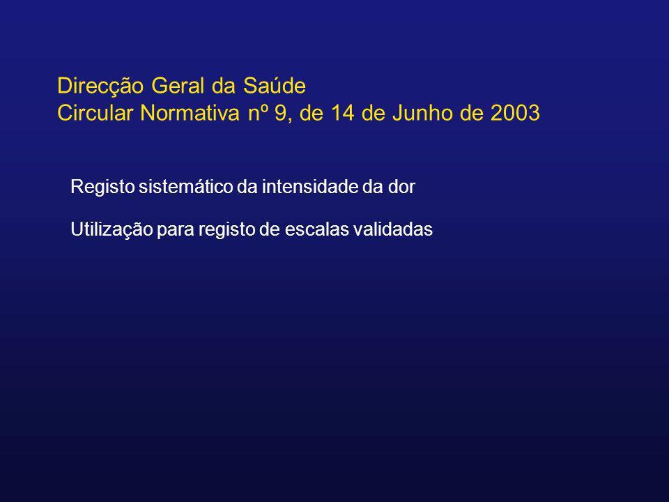 Direcção Geral da Saúde Circular Normativa nº 9, de 14 de Junho de 2003 Registo sistemático da intensidade da dor Utilização para registo de escalas v