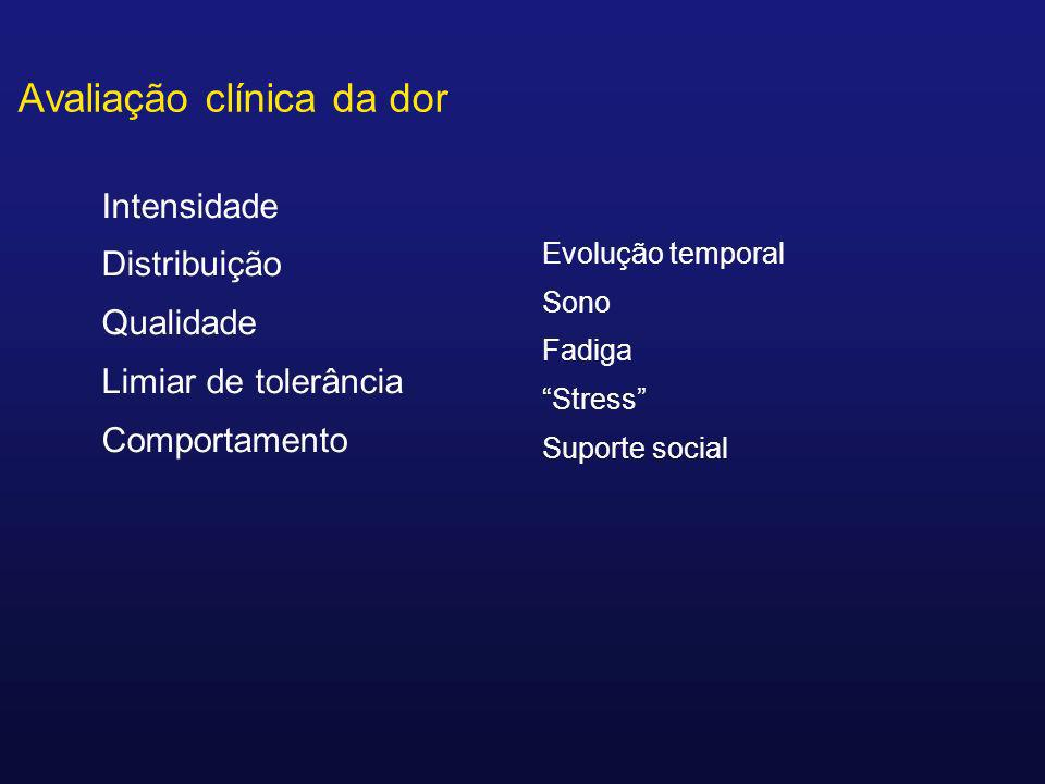 Avaliação clínica da dor Intensidade Distribuição Qualidade Limiar de tolerância Comportamento Evolução temporal Sono Fadiga Stress Suporte social