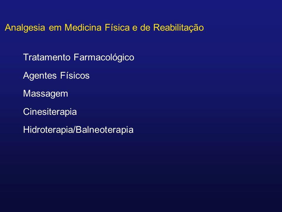 Analgesia em Medicina Física e de Reabilitação Tratamento Farmacológico Agentes Físicos Massagem Cinesiterapia Hidroterapia/Balneoterapia