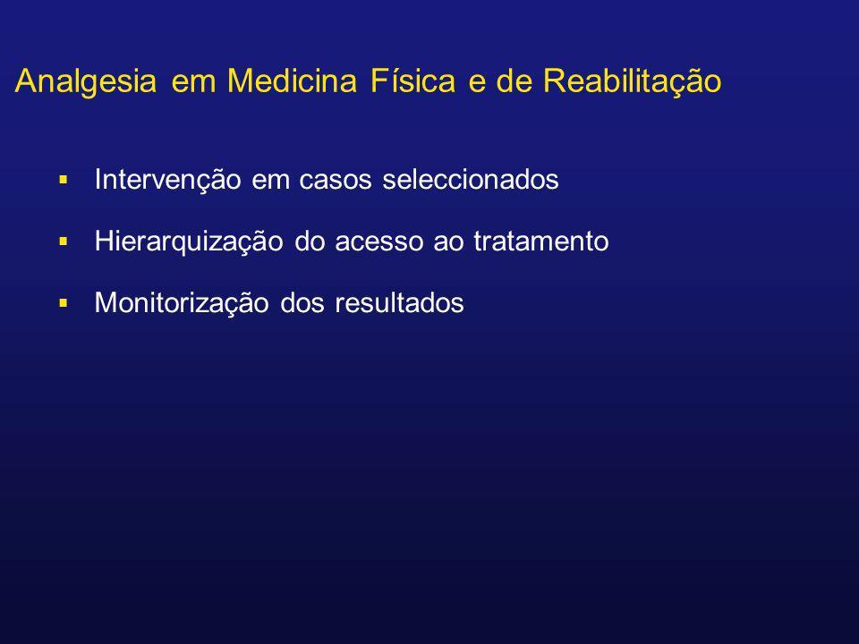 Analgesia em Medicina Física e de Reabilitação Intervenção em casos seleccionados Hierarquização do acesso ao tratamento Monitorização dos resultados
