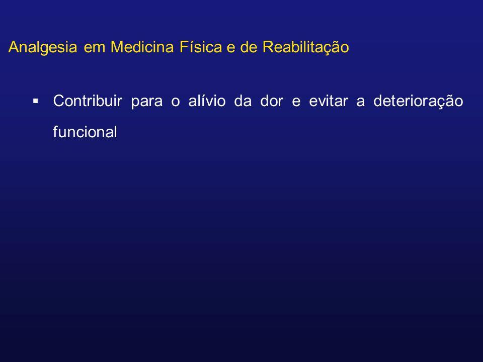 Analgesia em Medicina Física e de Reabilitação Contribuir para o alívio da dor e evitar a deterioração funcional