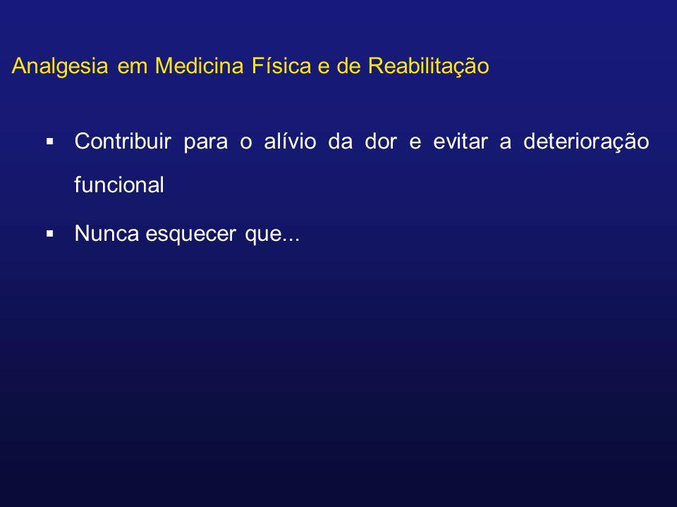 Analgesia em Medicina Física e de Reabilitação Contribuir para o alívio da dor e evitar a deterioração funcional Nunca esquecer que...