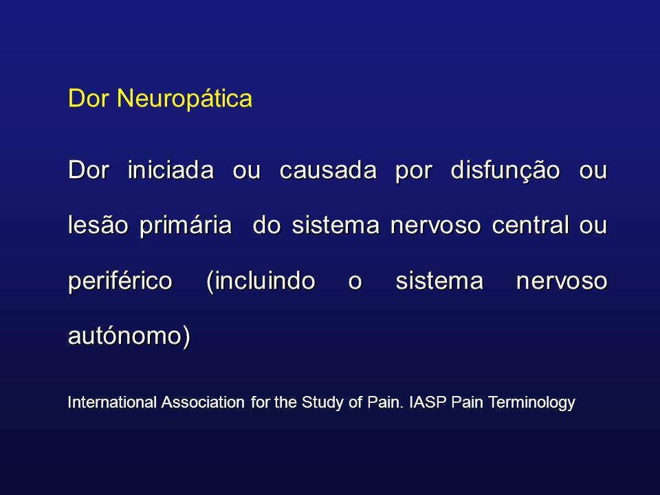 Dor Neuropática Dor iniciada ou causada por disfunção ou lesão primária do sistema nervoso central ou periférico (incluindo o sistema nervoso autónomo
