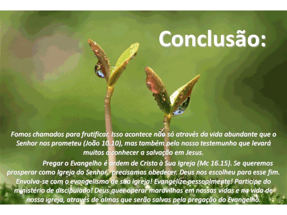 Conclusão: Fomos chamados para frutificar. Isso acontece não só através da vida abundante que o Senhor nos prometeu (João 10.10), mas também pelo noss