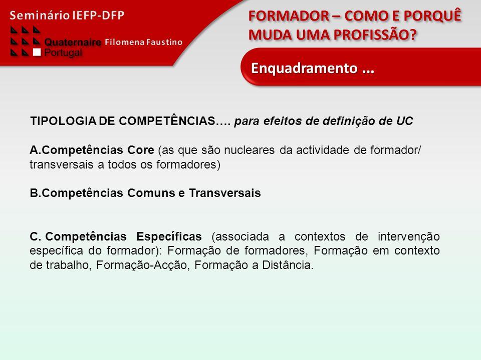 FORMADOR – COMO E PORQUÊ MUDA UMA PROFISSÃO? Enquadramento … TIPOLOGIA DE COMPETÊNCIAS…. para efeitos de definição de UC A.Competências Core (as que s