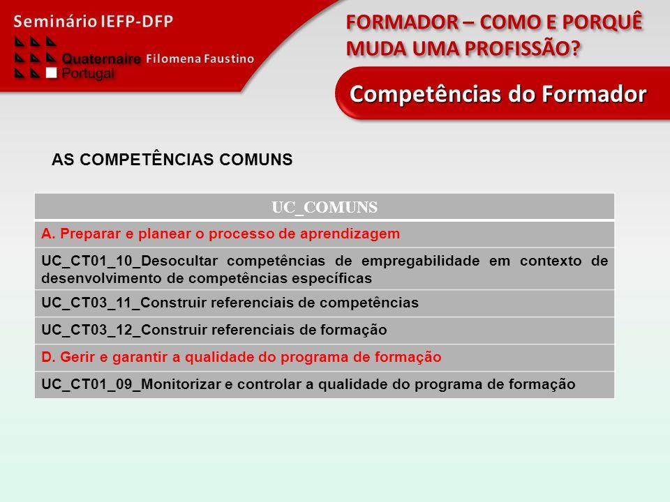 FORMADOR – COMO E PORQUÊ MUDA UMA PROFISSÃO? Competências do Formador UC_COMUNS A. Preparar e planear o processo de aprendizagem UC_CT01_10_Desocultar
