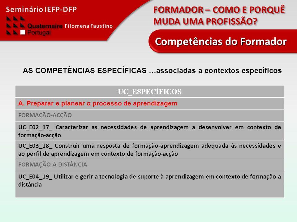 FORMADOR – COMO E PORQUÊ MUDA UMA PROFISSÃO.Competências do Formador UC_ESPECÍFICOS A.