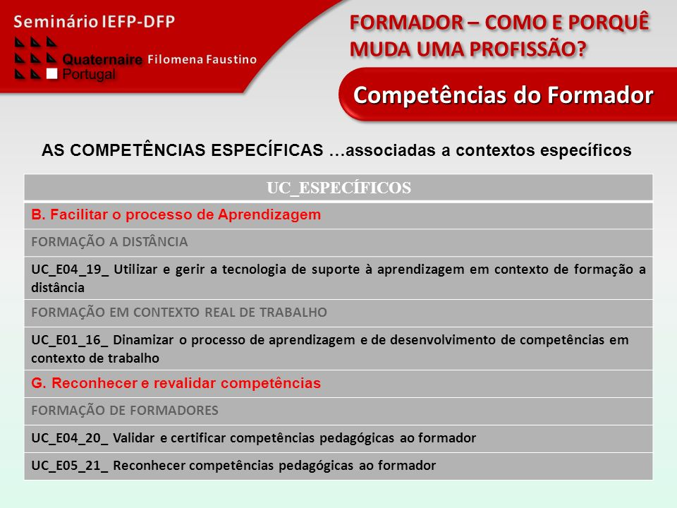 FORMADOR – COMO E PORQUÊ MUDA UMA PROFISSÃO? Competências do Formador UC_ESPECÍFICOS B. Facilitar o processo de Aprendizagem FORMAÇÃO A DISTÂNCIA UC_E