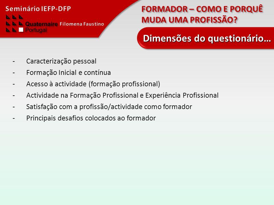 FORMADOR – COMO E PORQUÊ MUDA UMA PROFISSÃO? -Caracterização pessoal -Formação Inicial e contínua -Acesso à actividade (formação profissional) -Activi