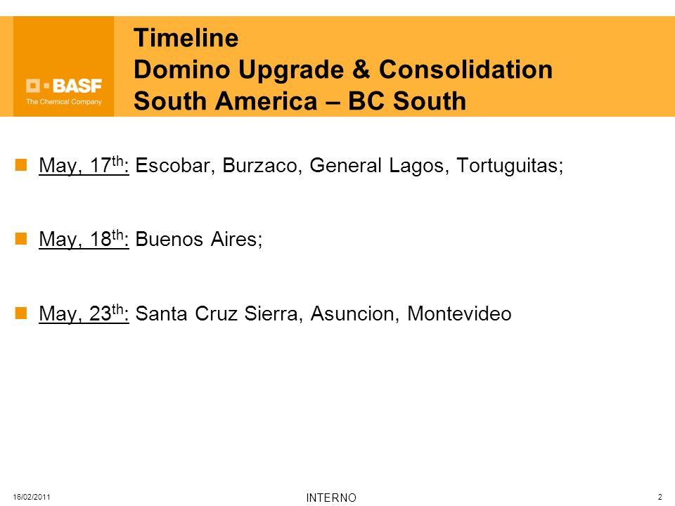 16/02/2011 INTERNO 2 Timeline Domino Upgrade & Consolidation South America – BC South May, 17 th : Escobar, Burzaco, General Lagos, Tortuguitas; May,