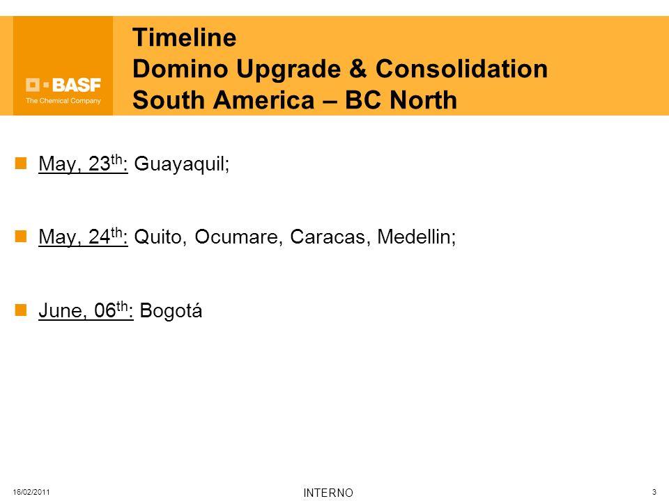 16/02/2011 INTERNO 4 Timeline Domino Upgrade & Consolidation South America – BC West June, 08 th : Santiago; June, 10 th : Temuco, Puerto Montt, Pudahuel, Concon, Cercado de Lima, Callao;