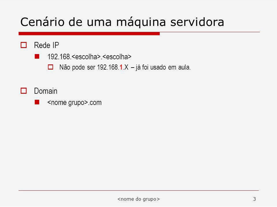 3 Cenário de uma máquina servidora Rede IP 192.168.. Não pode ser 192.168. 1.X – já foi usado em aula. Domain.com