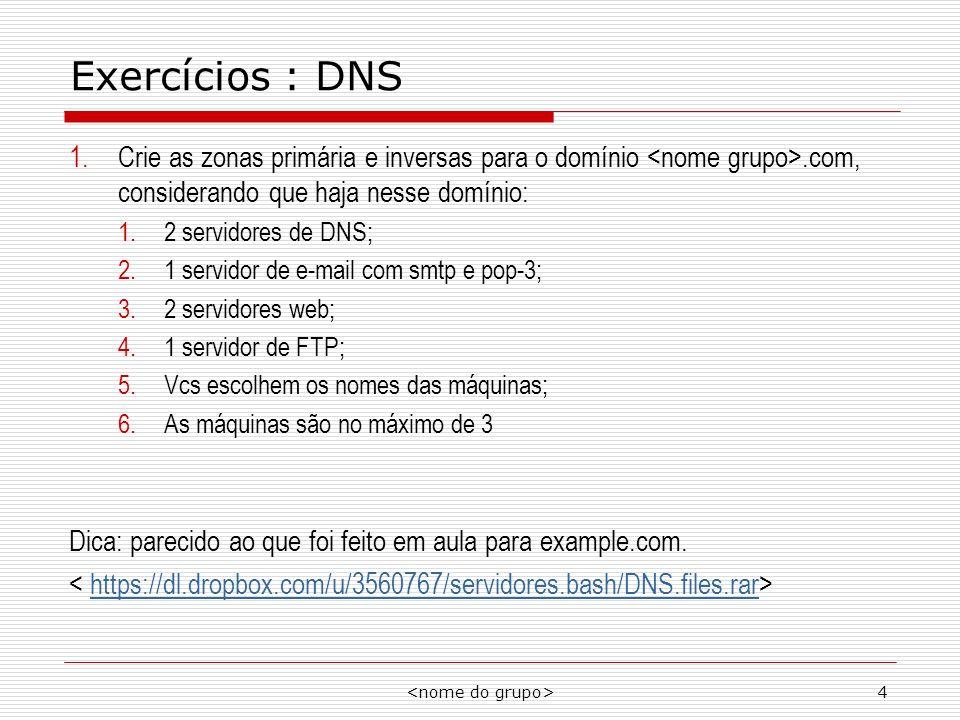 4 Exercícios : DNS 1.Crie as zonas primária e inversas para o domínio.com, considerando que haja nesse domínio: 1.2 servidores de DNS; 2.1 servidor de