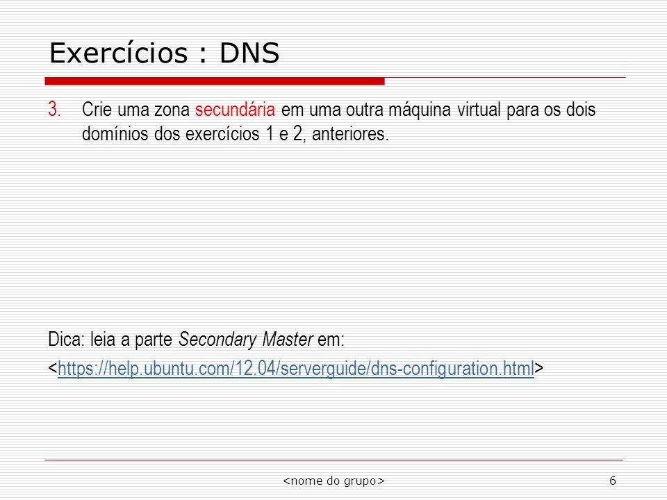 6 Exercícios : DNS 3.Crie uma zona secundária em uma outra máquina virtual para os dois domínios dos exercícios 1 e 2, anteriores. Dica: leia a parte