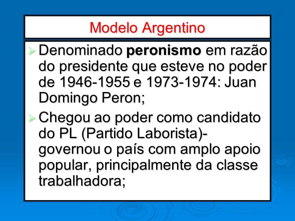 Modelo Argentino Denominado peronismo em razão do presidente que esteve no poder de 1946-1955 e 1973-1974: Juan Domingo Peron; Denominado peronismo em