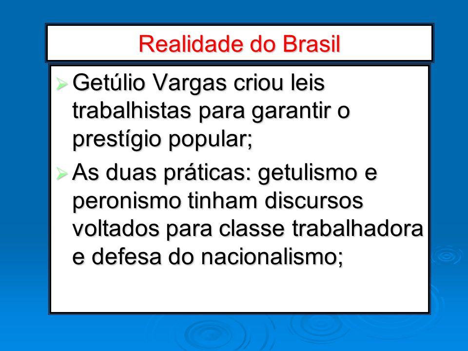 Realidade do Brasil Getúlio Vargas criou leis trabalhistas para garantir o prestígio popular; Getúlio Vargas criou leis trabalhistas para garantir o p