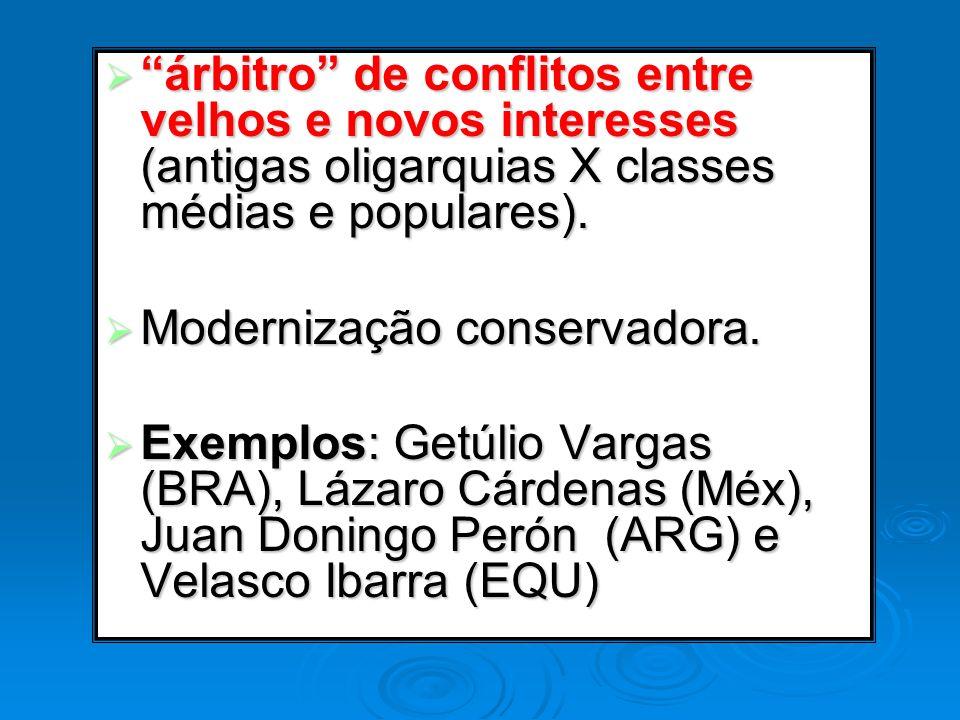 árbitro de conflitos entre velhos e novos interesses (antigas oligarquias X classes médias e populares). árbitro de conflitos entre velhos e novos int