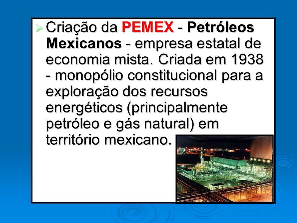 Criação da PEMEX - Petróleos Mexicanos - empresa estatal de economia mista. Criada em 1938 - monopólio constitucional para a exploração dos recursos e