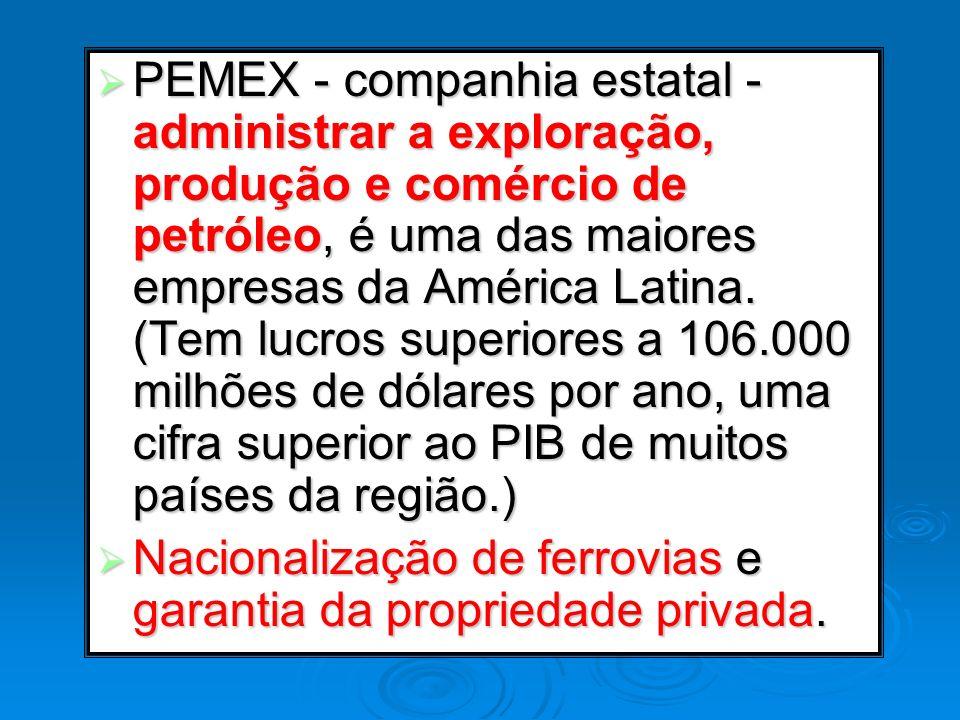 PEMEX - companhia estatal - administrar a exploração, produção e comércio de petróleo, é uma das maiores empresas da América Latina. (Tem lucros super