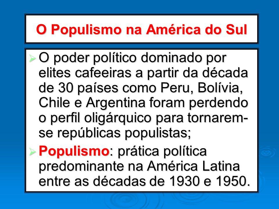O Populismo na América do Sul O poder político dominado por elites cafeeiras a partir da década de 30 países como Peru, Bolívia, Chile e Argentina for