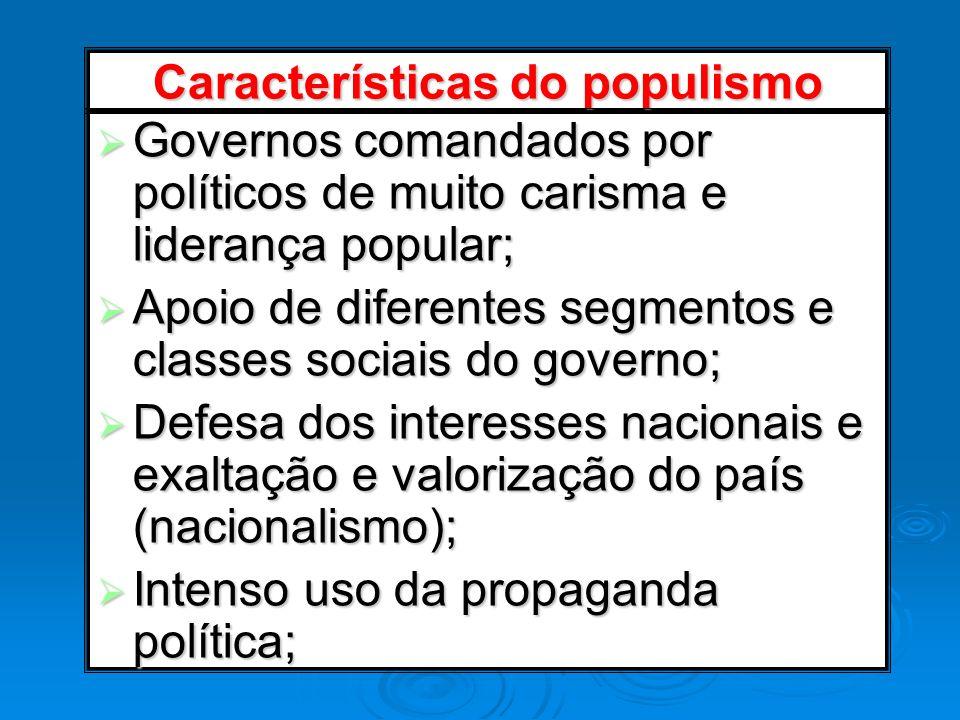 Características do populismo Governos comandados por políticos de muito carisma e liderança popular; Governos comandados por políticos de muito carism