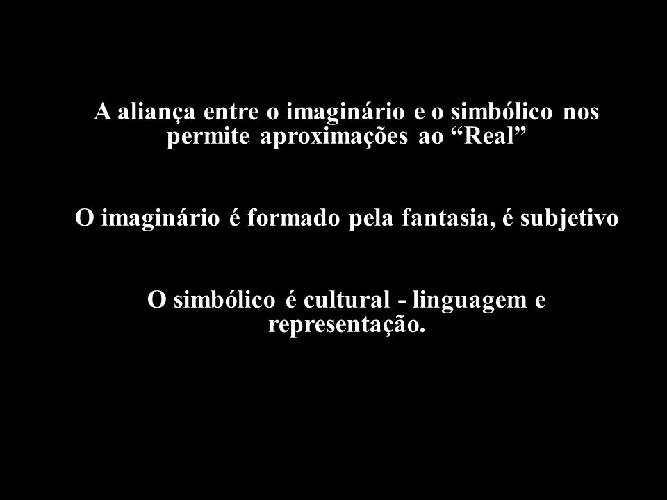 A aliança entre o imaginário e o simbólico nos permite aproximações ao Real O imaginário é formado pela fantasia, é subjetivo O simbólico é cultural -