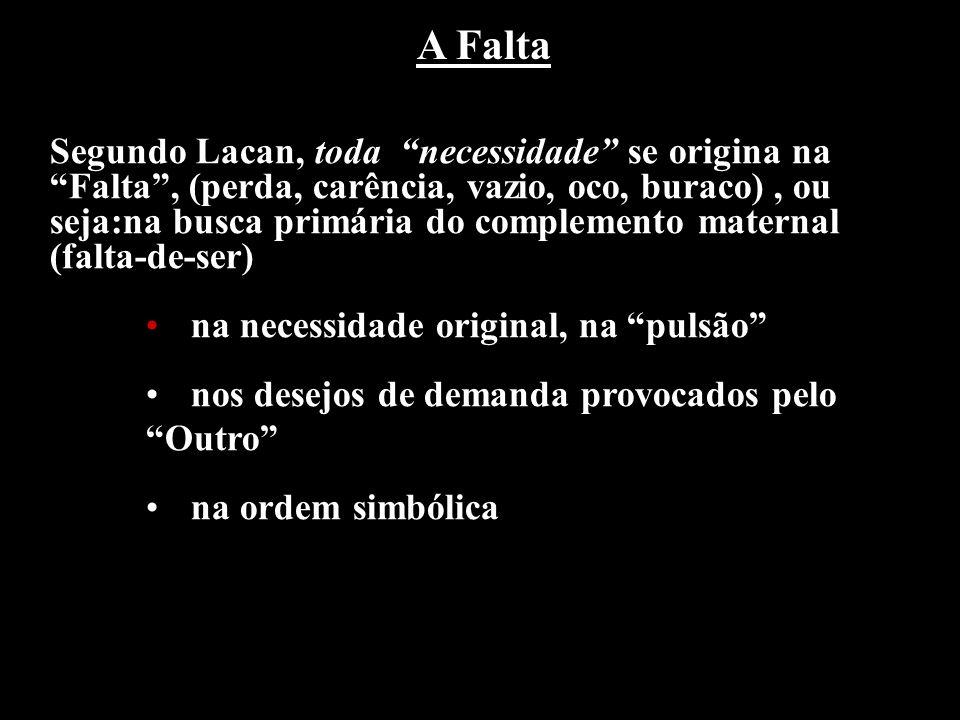 Segundo Lacan, toda necessidade se origina na Falta, (perda, carência, vazio, oco, buraco), ou seja:na busca primária do complemento maternal (falta-d