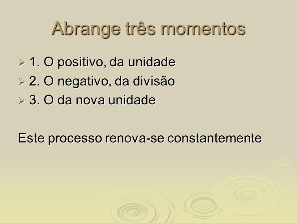 Abrange três momentos 1. O positivo, da unidade 1. O positivo, da unidade 2. O negativo, da divisão 2. O negativo, da divisão 3. O da nova unidade 3.