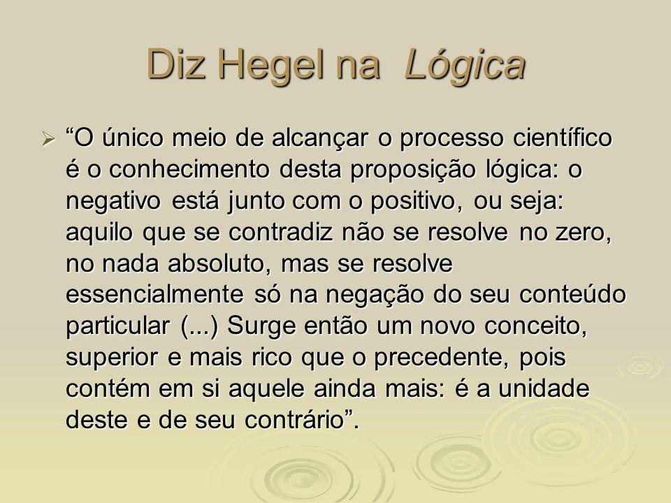 Diz Hegel na Lógica O único meio de alcançar o processo científico é o conhecimento desta proposição lógica: o negativo está junto com o positivo, ou