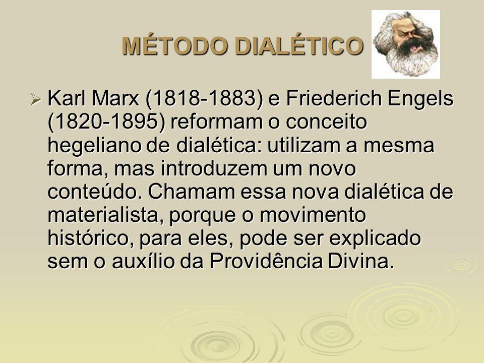 MÉTODO DIALÉTICO Karl Marx (1818-1883) e Friederich Engels (1820-1895) reformam o conceito hegeliano de dialética: utilizam a mesma forma, mas introdu