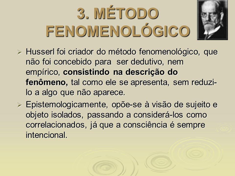 3. MÉTODO FENOMENOLÓGICO Husserl foi criador do método fenomenológico, que não foi concebido para ser dedutivo, nem empírico, consistindo na descrição