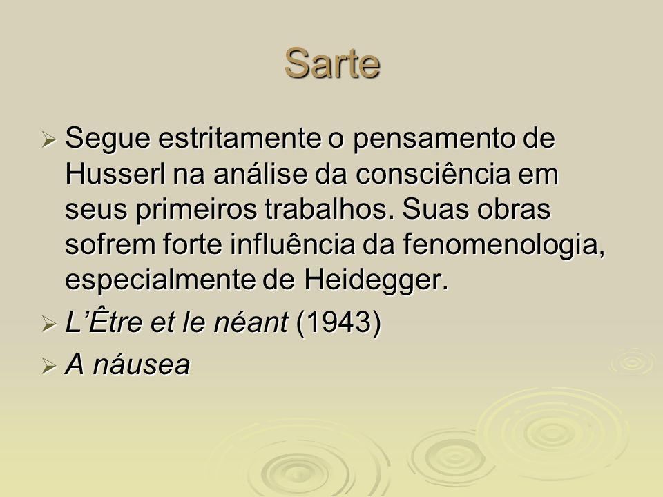 Sarte Segue estritamente o pensamento de Husserl na análise da consciência em seus primeiros trabalhos. Suas obras sofrem forte influência da fenomeno