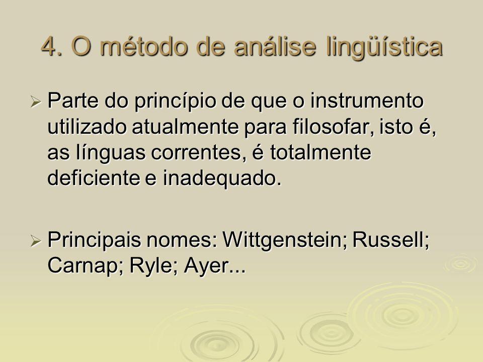 4. O método de análise lingüística Parte do princípio de que o instrumento utilizado atualmente para filosofar, isto é, as línguas correntes, é totalm