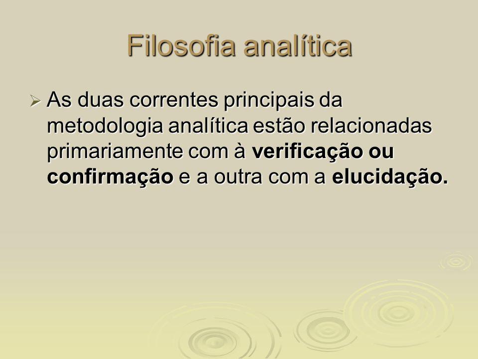Filosofia analítica As duas correntes principais da metodologia analítica estão relacionadas primariamente com à verificação ou confirmação e a outra