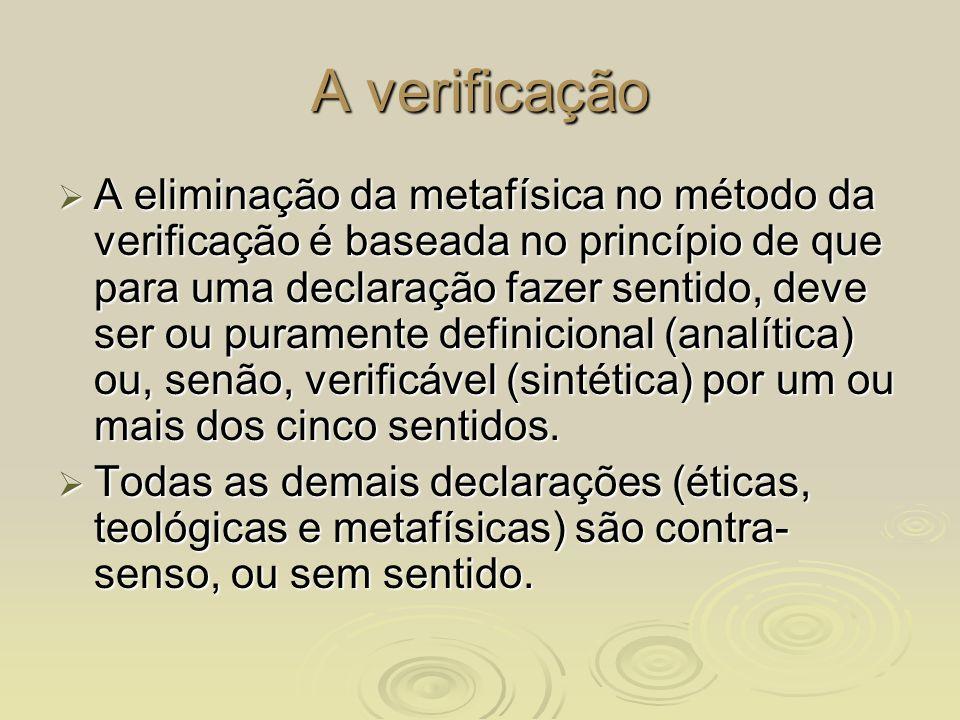 A verificação A eliminação da metafísica no método da verificação é baseada no princípio de que para uma declaração fazer sentido, deve ser ou puramen