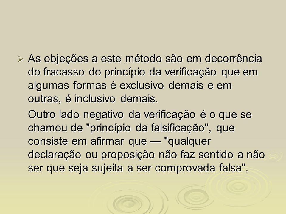 As objeções a este método são em decorrência do fracasso do princípio da verificação que em algumas formas é exclusivo demais e em outras, é inclusivo