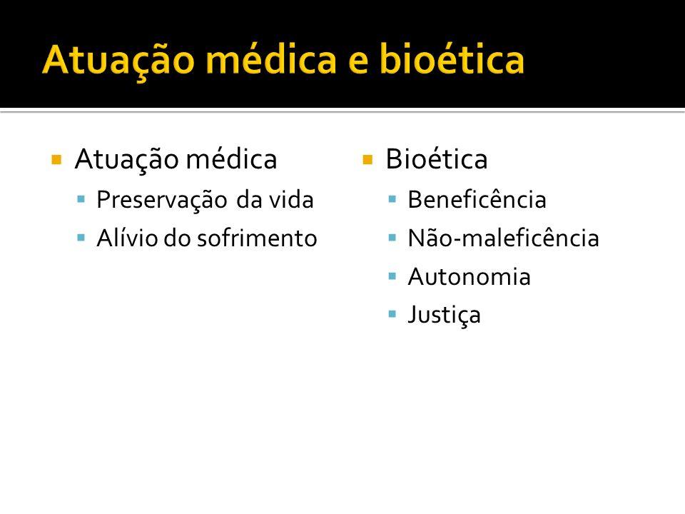 Atuação médica Preservação da vida Alívio do sofrimento Bioética Beneficência Não-maleficência Autonomia Justiça