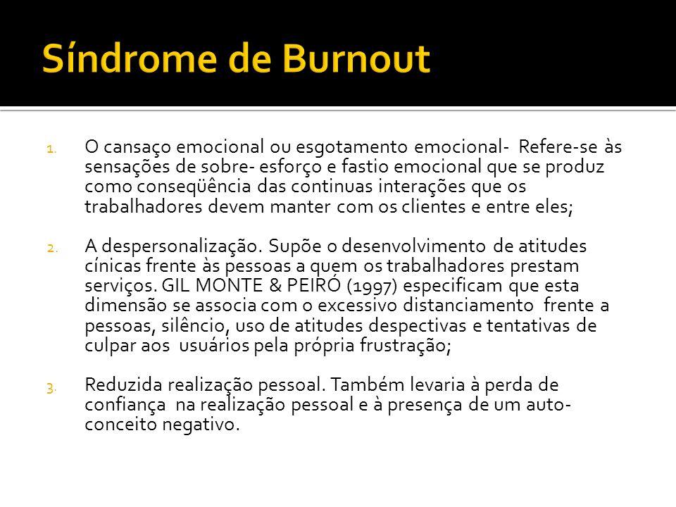 1. O cansaço emocional ou esgotamento emocional- Refere-se às sensações de sobre- esforço e fastio emocional que se produz como conseqüência das conti