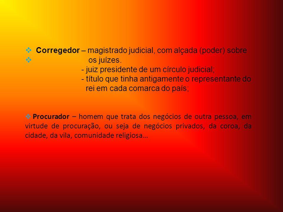 Símbolos caracterizadores Corregedor: - vara e feitos (processos) * Procurador: - livros jurídicos * * Estes símbolos representam a justiça e o jurado, ou seja, os seus cargos na Terra.