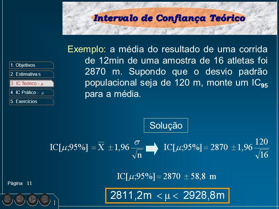 Página 1. Objetivos 2. Estimativa s 3. IC Teórico - 4. IC Prático - 5. Exercícios 11 Intervalo de Confiança Teórico Exemplo: a média do resultado de u