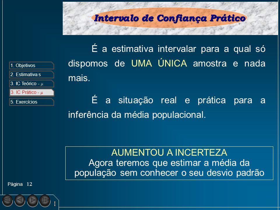 Página 1. Objetivos 2. Estimativa s 3. IC Teórico - 4. IC Prático - 5. Exercícios 12 3. IC Prático - Intervalo de Confiança Prático É a estimativa int