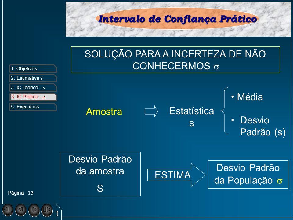 Página 1. Objetivos 2. Estimativa s 3. IC Teórico - 4. IC Prático - 5. Exercícios 13 3. IC Prático - Intervalo de Confiança Prático SOLUÇÃO PARA A INC