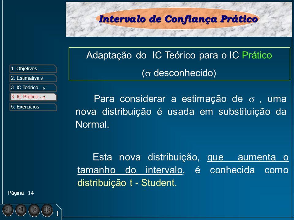 Página 1. Objetivos 2. Estimativa s 3. IC Teórico - 4. IC Prático - 5. Exercícios 14 3. IC Prático - Intervalo de Confiança Prático Adaptação do IC Te