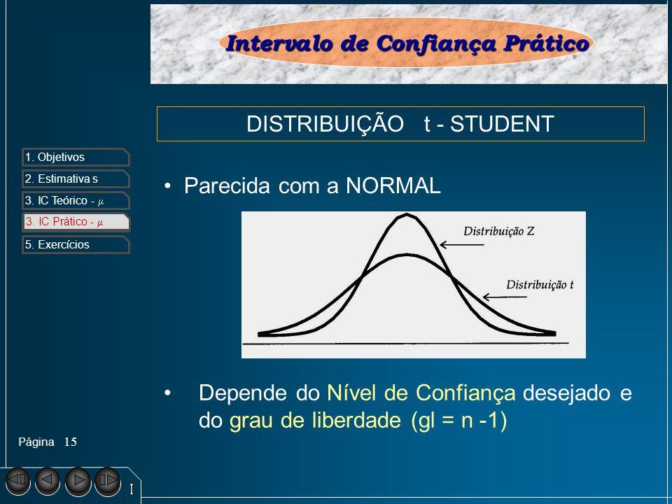 Página 1. Objetivos 2. Estimativa s 3. IC Teórico - 4. IC Prático - 5. Exercícios 15 3. IC Prático - Intervalo de Confiança Prático DISTRIBUIÇÃO t - S